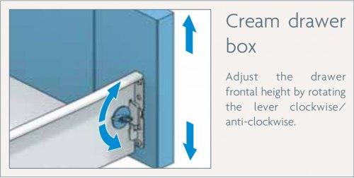cream drawer box adjustment